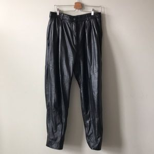 Vintage Pleated Baggy Leather Trousers - 14